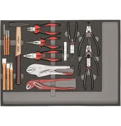 Carolus (Gedore) 2250.902 Комплект шарнирно-губчатого инструмента, молотков, зубил в модуле из пенистого материала, 29 предметов