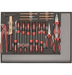 Carolus (Gedore) 2250.906 Комплект из отверток, шарнирно-губцевого инструмента, молотка, зубила в модуле из пенистого материала, 23 предметов