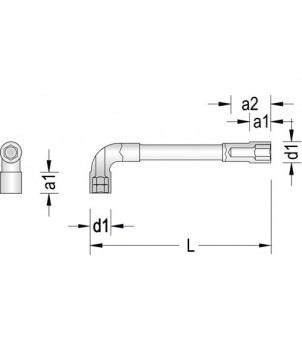 Gedore 25 PK Ключ торцевой угловой двусторонний, изогнутый с отверстием