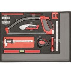 Gedore RED R22350004 Комплект измерительного и режущего инструмента в модуле из пенистого материала, 30 предметов