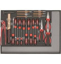 Gedore RED R22350005 Комплект из отверток, шарнирно-губцевого инструмента, молотка, зубила